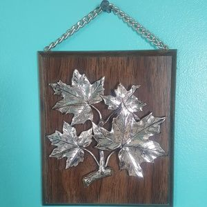 Wood and gold leaf wall hanging